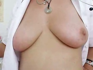 Aged, Granny, Jerking, Masturbating, Mature, Natural pussy, Nurse, Sex toys, Solo, Speculum, Stockings, Uniform, Vibrator