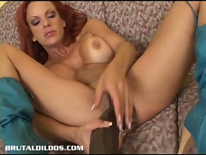 Big tits, Busty, Dildo, Freckled, Huge dildo, Huge toy, Masturbating, Pussy, Redheads, Sex toys, Solo