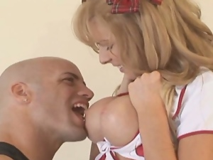 Big cock, Big tits, Cheerleader, Creampie, Fake tits, Hardcore, Silicone tits, Uniform