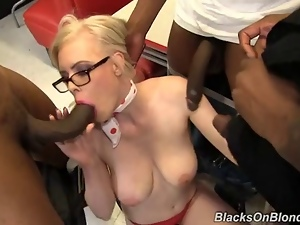 Babes, Black, Blondes, Gangbang, Group sex, Interracial, Waitress, White