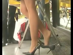 Amazing, Hidden cam, Legs, Pantyhose, Stockings, Voyeur