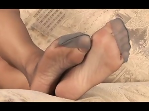 Feet, Foot fetish, Mature, Nylon, Pov, Sexy, Stockings, Upskirt