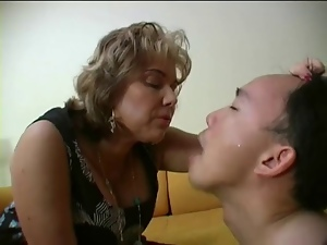Femdom, French, Mature, Mouthful, Slave, Spit