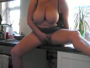 Amateur, Big tits, British, Kitchen