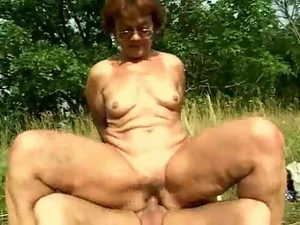 Blowjob, Granny, Outdoor, Redheads
