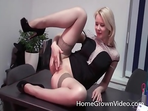 Desk, Fishnet, Masturbating, Office, Stockings