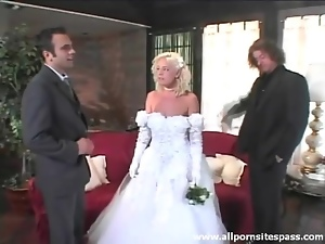 Beautiful, Blowjob, Bride, Dick, Sucking, Threesome, Wedding