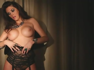 Babes, Big tits, Black, High heels, Lace, Lingerie, Sexy, Solo, Strip