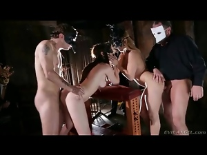 4some, Couple, Doggystyle, Group sex, Hardcore, Mask