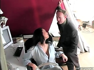 Big tits, Fondling, Milf, Mom, Office, Strip