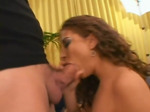 Blowjob, Curly haired, Fucking, Hardcore, Married, Threesome