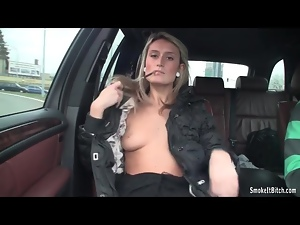 Blondes, Car, Small tits, Smoking, Tits