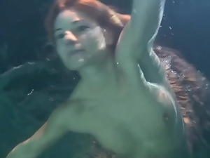 Cute, Dress, Redheads, Swimsuit, Underwater