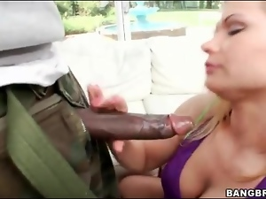 Black, Blowjob, Dick, Giant, Interracial, Lady, Monster cock, White