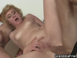 Double penetration, Lady, Mature, Old, Penetrating, Pussy, Threesome