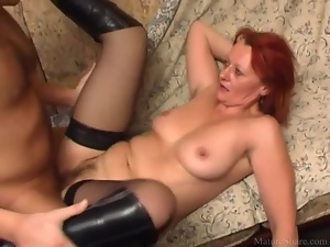 Boots, Cunt, Dick, Mature, Stockings