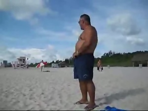 Amateur, Beach, Bear, Belly, Cum, Dad girl, Fat, Gay, Old