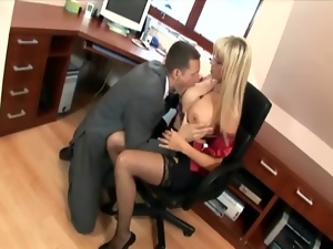Banging, Desk, Fucking, Glasses, High heels, Lingerie, Office, Secretary, Stockings