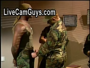 Anal, Black, Blowjob, Gay, Hunk, Interracial, Licking, Military, Muscled, Oral, Sucking, Threesome