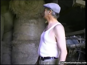 Amateur, Banging, Blowjob, European, Farm, Fucking, Old, Outdoor, Threesome