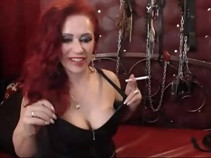 Dominatrix, Femdom, Gloves, Leather, Pov, Webcam