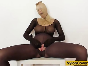 Blondes, Close up, Czech, Face, Mask, Masturbating, Nylon, Sex toys