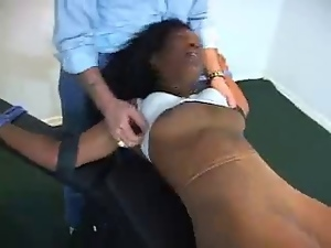 Bdsm, Ebony, Foot fetish, Pantyhose, Pov, Stockings, Tickling, Upskirt